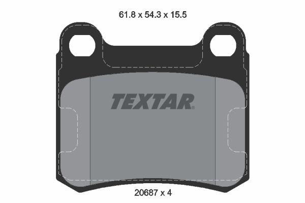 TEXTAR  2068701 Bremsbelagsatz, Scheibenbremse Breite: 61,8mm, Höhe: 54,3mm, Dicke/Stärke: 15,5mm
