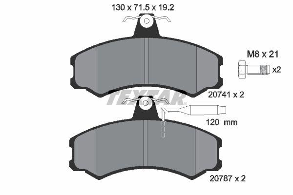 TEXTAR  2074101 Bremsbelagsatz, Scheibenbremse Breite: 130mm, Höhe: 71,5mm, Dicke/Stärke: 19,2mm