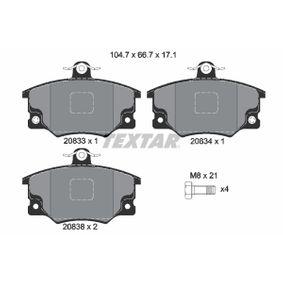 Kit pastiglie freno, Freno a disco (2083302) per per Indicatore Direzione Laterale FIAT SEICENTO (187) Elettrica dal Anno 03.2000 30 CV di TEXTAR