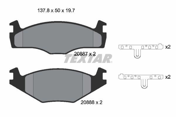 TEXTAR  2088710 Bremsbelagsatz, Scheibenbremse Breite: 137,8mm, Höhe: 50mm, Dicke/Stärke: 19,7mm