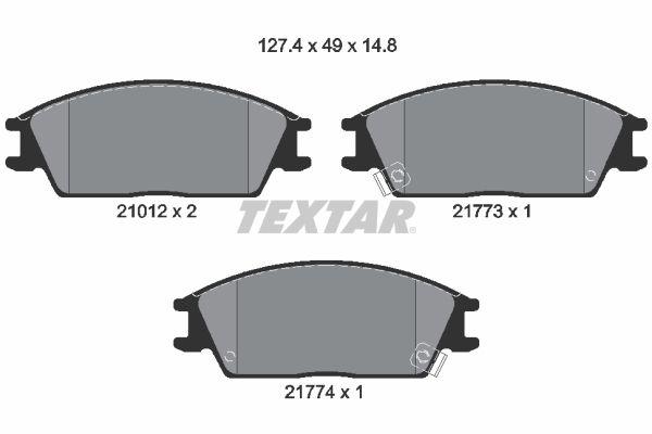 TEXTAR  2101202 Bremsbelagsatz, Scheibenbremse Breite: 127,4mm, Höhe: 49mm, Dicke/Stärke: 14,8mm