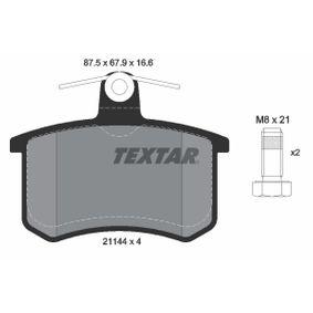 TEXTAR Bremsbelagsatz, Scheibenbremse 2114401 für AUDI 80 (8C, B4) 2.8 quattro ab Baujahr 09.1991, 174 PS