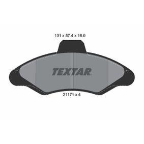 TEXTAR Bremsbelagsatz, Scheibenbremse 2117105 für FORD ESCORT VI Stufenheck (GAL) 1.4 ab Baujahr 08.1993, 75 PS