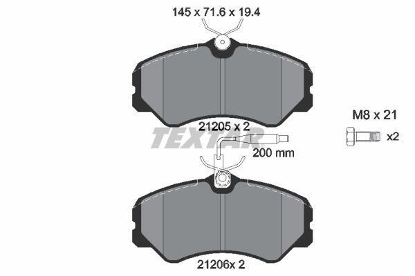 TEXTAR  2120501 Bremsbelagsatz, Scheibenbremse Breite: 145mm, Höhe: 71,6mm, Dicke/Stärke: 19,4mm