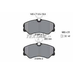 Bremsbelagsatz, Scheibenbremse Breite: 145mm, Höhe: 71,6mm, Dicke/Stärke: 19,4mm mit OEM-Nummer 9941208