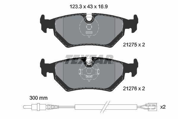 TEXTAR  2127501 Bremsbelagsatz, Scheibenbremse Breite: 123,3mm, Höhe: 43mm, Dicke/Stärke: 16,9mm