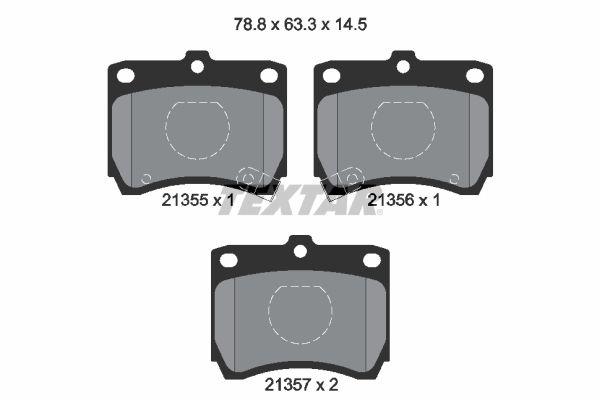 TEXTAR  2135501 Bremsbelagsatz, Scheibenbremse Breite: 78,8mm, Höhe: 63,3mm, Dicke/Stärke: 14,5mm
