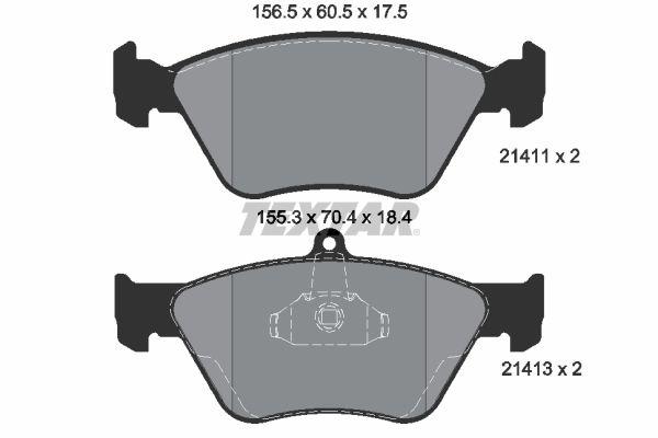 TEXTAR  2141101 Bremsbelagsatz, Scheibenbremse Breite 1: 155,3mm, Breite 2: 156,5mm, Höhe 1: 70,4mm, Höhe 2: 60,5mm, Dicke/Stärke: 17,5mm