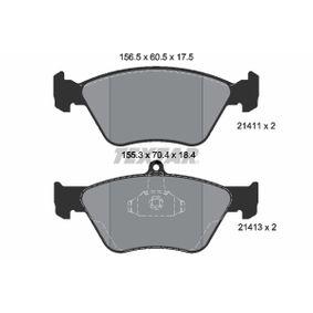 Bremsbelagsatz, Scheibenbremse Breite 1: 155,3mm, Breite 2: 156,5mm, Höhe 1: 70,4mm, Höhe 2: 60,5mm, Dicke/Stärke: 17,5mm mit OEM-Nummer 90 44 3873