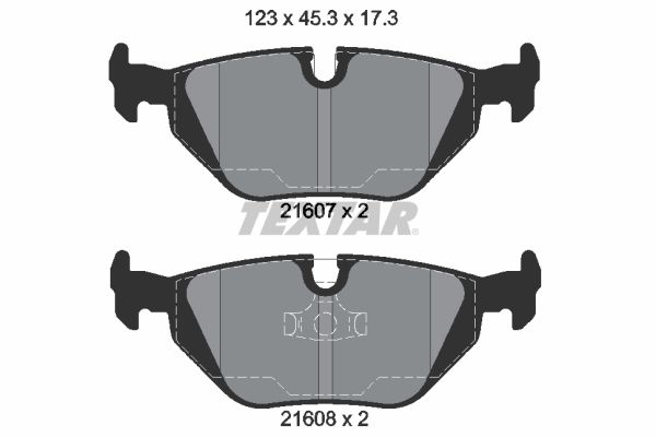 TEXTAR  2160702 Bremsbelagsatz, Scheibenbremse Breite: 123mm, Höhe: 45,3mm, Dicke/Stärke: 17,3mm