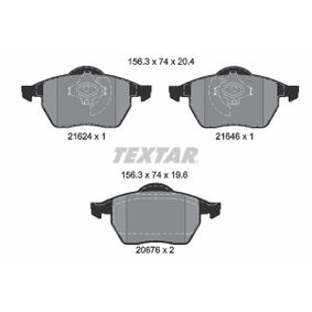 TEXTAR  2162402 Bremsbelagsatz, Scheibenbremse Breite: 156,3mm, Höhe: 74mm, Dicke/Stärke: 20,4mm