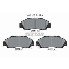 TEXTAR  2165101 Bremsbelagsatz, Scheibenbremse Breite: 148,8mm, Höhe: 57,7mm, Dicke/Stärke: 17,3mm