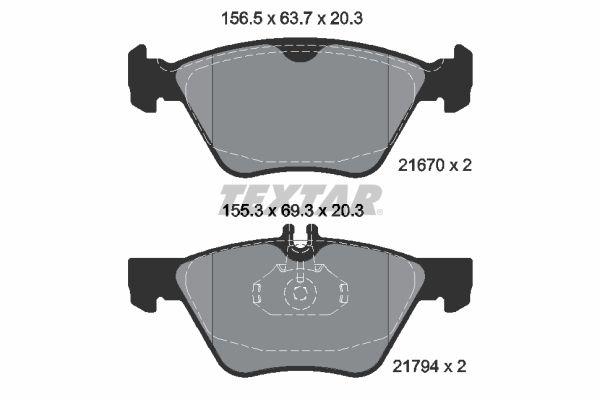 TEXTAR  2167001 Bremsbelagsatz, Scheibenbremse Breite 1: 156,5mm, Breite 2: 155,3mm, Höhe 1: 63,7mm, Höhe 2: 69,3mm, Dicke/Stärke: 20,3mm