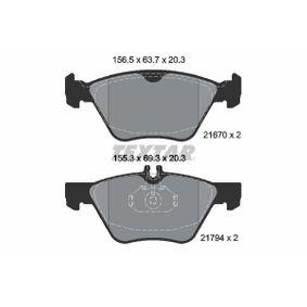 Bremsbelagsatz, Scheibenbremse Breite 1: 156,5mm, Breite 2: 155,3mm, Höhe 1: 63,7mm, Höhe 2: 69,3mm, Dicke/Stärke: 20,3mm mit OEM-Nummer 0044200320