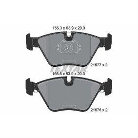 Bremsbelagsatz, Scheibenbremse Breite 1: 155,3mm, Breite 2: 156,5mm, Höhe: 63,9mm, Dicke/Stärke: 20,3mm mit OEM-Nummer 34111163387