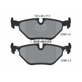 Bremsbelagsatz, Scheibenbremse Breite 1: 123,2mm, Breite 2: 122mm, Höhe 2: 45mm, Dicke/Stärke: 17,3mm mit OEM-Nummer 6 761 281
