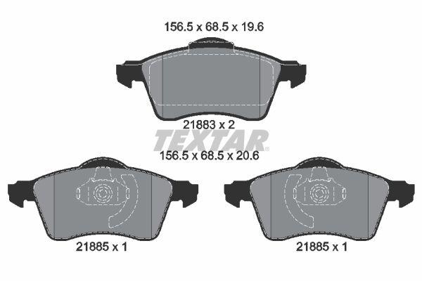 TEXTAR  2188302 Bremsbelagsatz, Scheibenbremse Breite: 156,5mm, Höhe: 68,5mm, Dicke/Stärke: 19,6mm