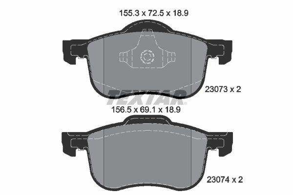 TEXTAR  2307303 Brake Pad Set, disc brake Width 1: 155,3mm, Width 2 [mm]: 156,5mm, Height 1: 72,5mm, Height 2: 69,1mm, Thickness: 18,9mm