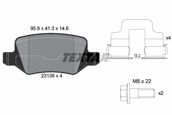 TEXTAR  2313803 Brake Pad Set, disc brake Width: 95,8mm, Height: 41,3mm, Thickness: 14,6mm
