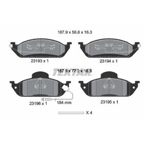 Bremsbelagsatz, Scheibenbremse Breite: 187,9mm, Höhe 1: 77,2mm, Höhe 2: 58,8mm, Dicke/Stärke: 16,3mm mit OEM-Nummer 416 342 0032