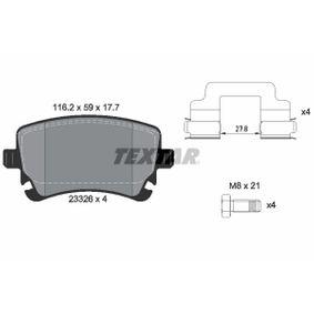TEXTAR  2332601 Bremsbelagsatz, Scheibenbremse Breite: 116,2mm, Höhe: 59mm, Dicke/Stärke: 17,7mm