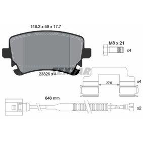 Bremsbelagsatz, Scheibenbremse Breite: 116,2mm, Höhe: 59mm, Dicke/Stärke: 17,7mm mit OEM-Nummer 3D0 698 451