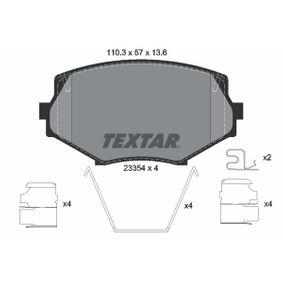 TEXTAR  2335404 Bremsbelagsatz, Scheibenbremse Breite: 110,3mm, Höhe: 57mm, Dicke/Stärke: 13,6mm