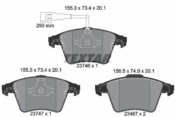 TEXTAR  2374602 Bremsbelagsatz, Scheibenbremse Breite 1: 155,3mm, Breite 2: 156,5mm, Höhe 1: 73,4mm, Höhe 2: 74,9mm, Dicke/Stärke: 20,1mm