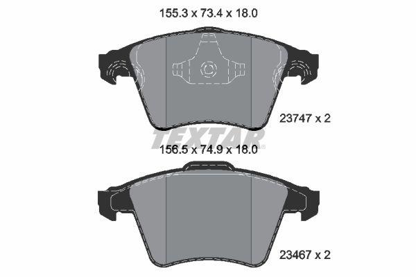TEXTAR  2374702 Bremsbelagsatz, Scheibenbremse Breite 1: 155,3mm, Breite 2: 155,3mm, Höhe 1: 73,4mm, Höhe 2: 73,4mm, Dicke/Stärke: 20,1mm