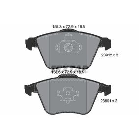 Комплект спирачно феродо, дискови спирачки ширина 1: 156,5мм, ширина 2: 155,3мм, височина: 72,9мм, дебелина: 18,5мм с ОЕМ-номер 23912