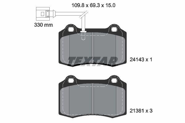 TEXTAR  2414301 Bremsbelagsatz, Scheibenbremse Breite: 109,8mm, Höhe: 69,3mm, Dicke/Stärke: 15mm
