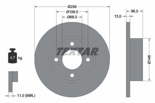 TEXTAR  92057800 Bremsscheibe Bremsscheibendicke: 13mm, Ø: 256mm