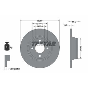 Bremsscheibe Bremsscheibendicke: 13mm, Ø: 280mm mit OEM-Nummer 8A0 615 301 D