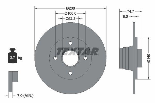 TEXTAR  92081200 Bremsscheibe Bremsscheibendicke: 8mm, Ø: 238mm