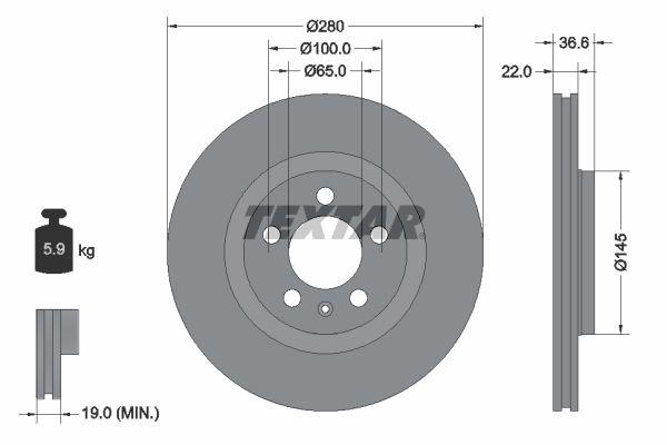 TEXTAR  92082300 Bremsscheibe Bremsscheibendicke: 22mm, Ø: 280mm