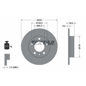 Bremsscheibe Bremsscheibendicke: 9mm, Ø: 230mm mit OEM-Nummer 6QD615601