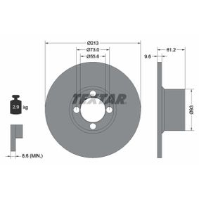 TEXTAR  92092600 Bremsscheibe Bremsscheibendicke: 9,6mm, Ø: 213mm