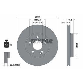 Bremsscheibe Bremsscheibendicke: 25,0mm, Ø: 288mm mit OEM-Nummer A210 421 241264