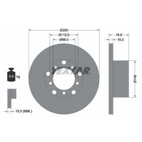 Disque de frein Essieu avant, Ø: 280mm, plein 93012400