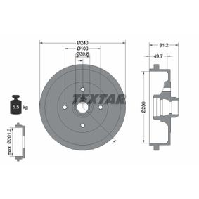 Bremstrommel Trommel-Ø: 200,0, Br.Tr.Durchmesser außen: 240mm mit OEM-Nummer 1H0 501 615A