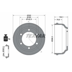 Brake Drum Drum Ø: 280mm, Outer Br. Sh. Diameter: 316,5mm with OEM Number 92VB 1126 BA