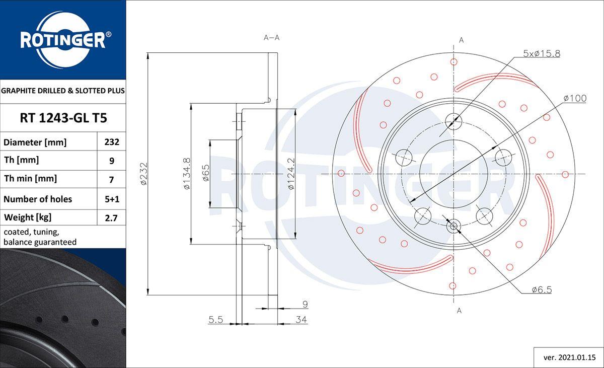 ROTINGER  RT 1243-GL T5 Bremsscheibe Bremsscheibendicke: 9mm, Lochanzahl: 5, Ø: 230mm