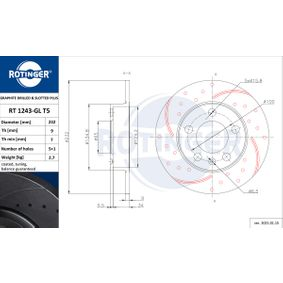 Bremsscheibe Bremsscheibendicke: 9mm, Lochanzahl: 5, Ø: 230mm mit OEM-Nummer 6R0 698 151