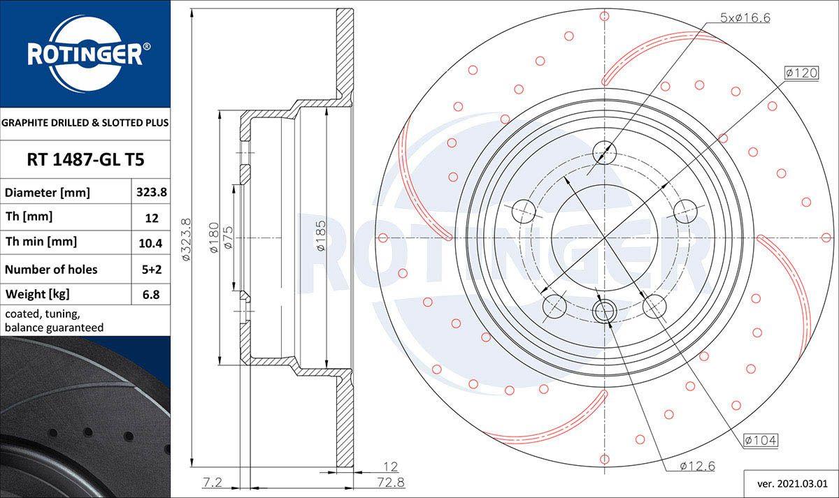 ROTINGER  RT 1487-GL T5 Bremsscheibe Bremsscheibendicke: 12mm, Lochanzahl: 5, Ø: 324mm