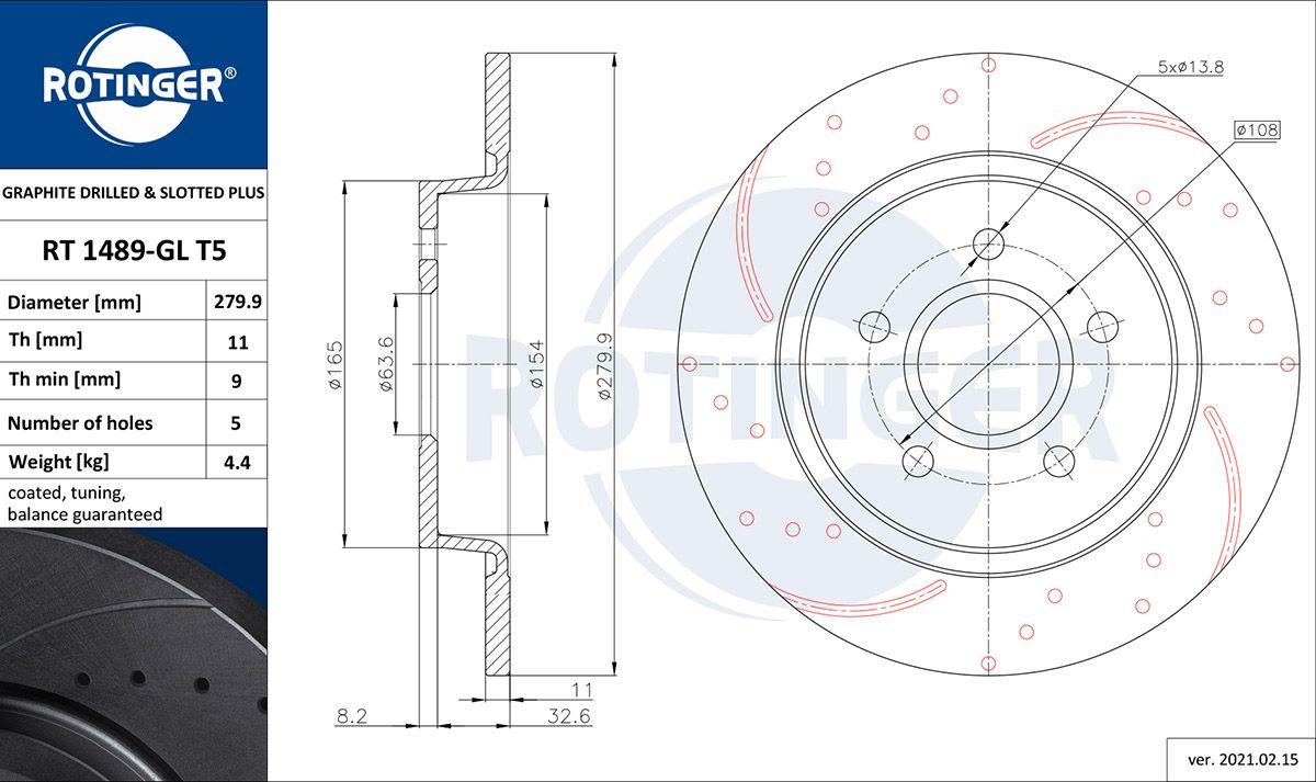 ROTINGER  RT 1489-GL T5 Bremsscheibe Bremsscheibendicke: 11mm, Lochanzahl: 5, Ø: 280mm