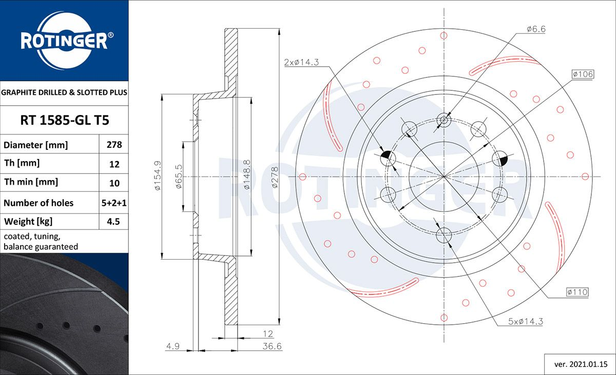 ROTINGER  RT 1585-GL T5 Bremsscheibe Bremsscheibendicke: 12mm, Lochanzahl: 7, Ø: 278mm