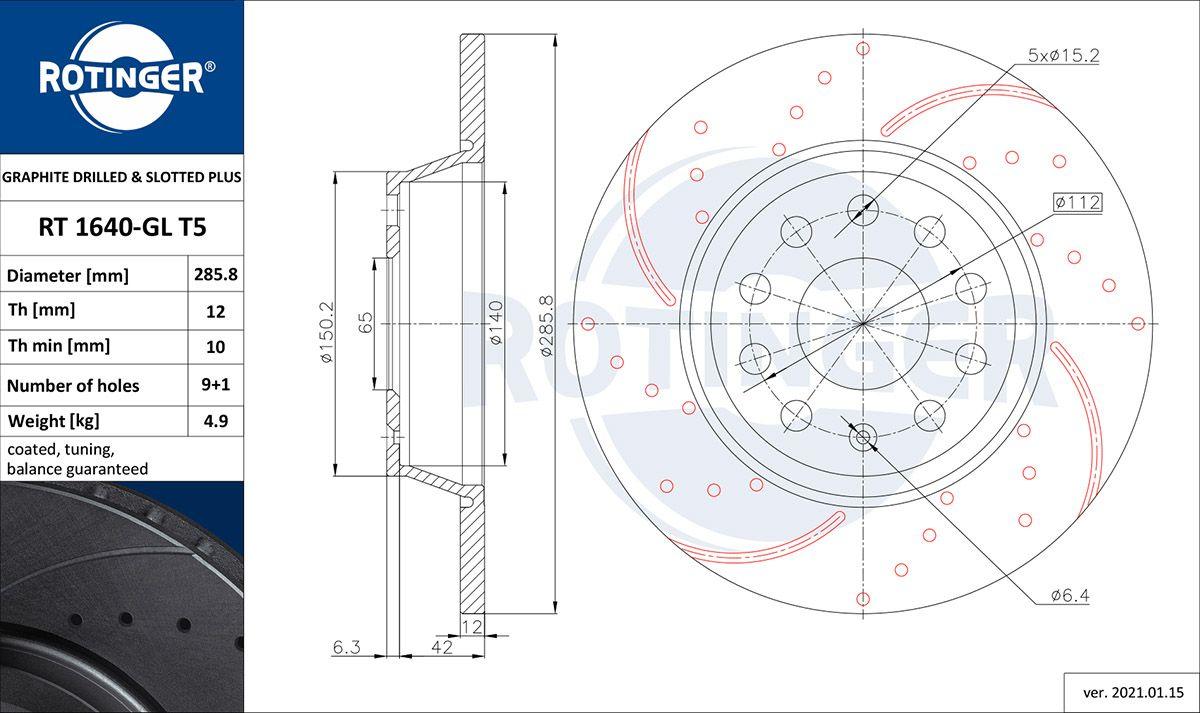 ROTINGER  RT 1640-GL T5 Bremsscheibe Bremsscheibendicke: 12mm, Lochanzahl: 9, Ø: 285,80mm