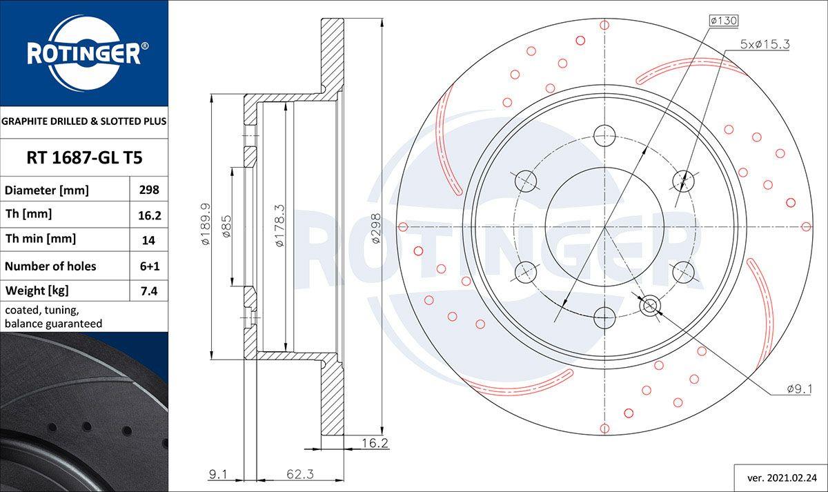 ROTINGER  RT 1687-GL T5 Bremsscheibe Bremsscheibendicke: 16,30mm, Lochanzahl: 6, Ø: 298mm