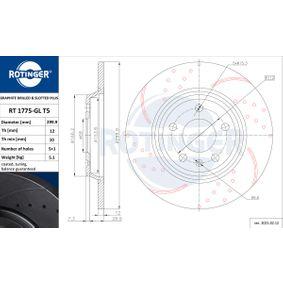 Bremsscheibe Bremsscheibendicke: 12mm, Lochanzahl: 5, Ø: 300mm mit OEM-Nummer 08A75910