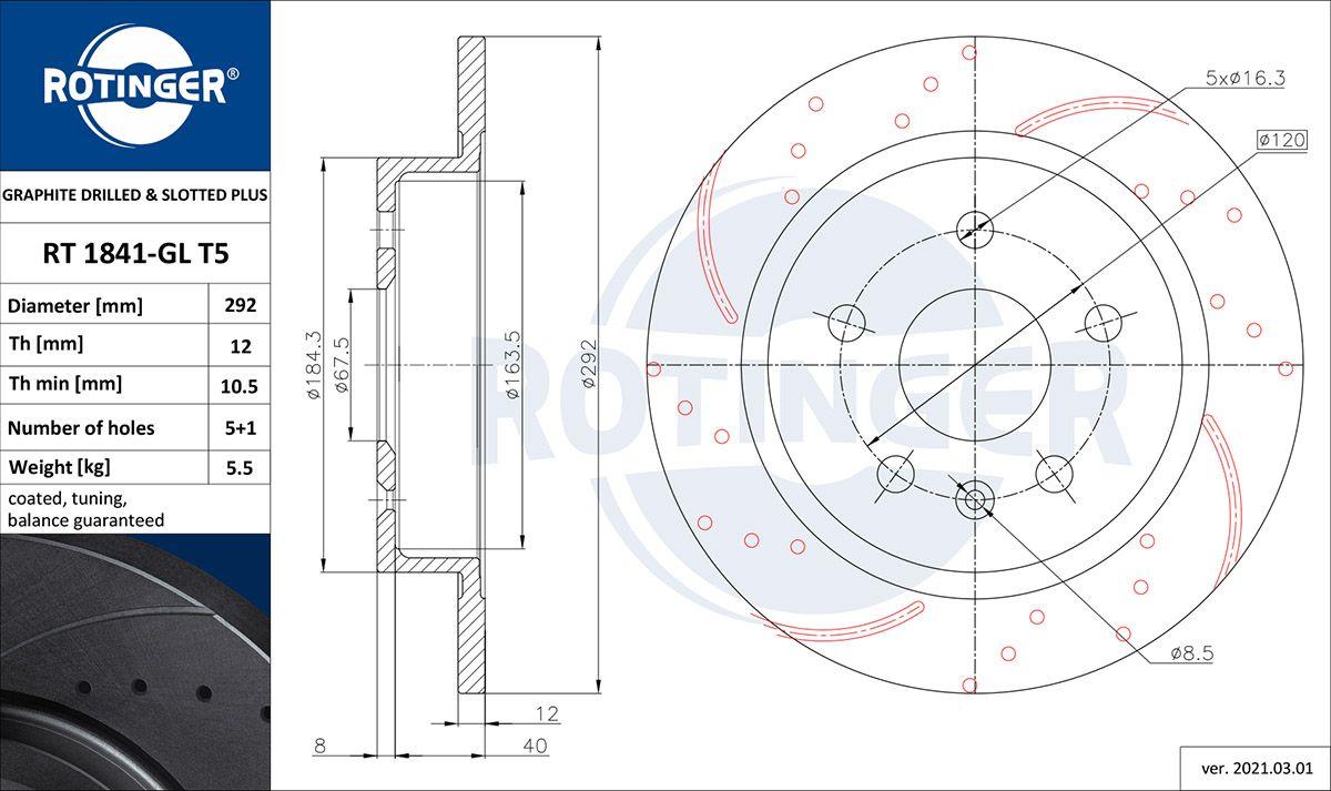 ROTINGER  RT 1841-GL T5 Bremsscheibe Bremsscheibendicke: 12mm, Lochanzahl: 5, Ø: 292mm